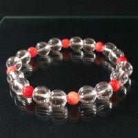 女性のための赤珊瑚&水晶★ブレスレット