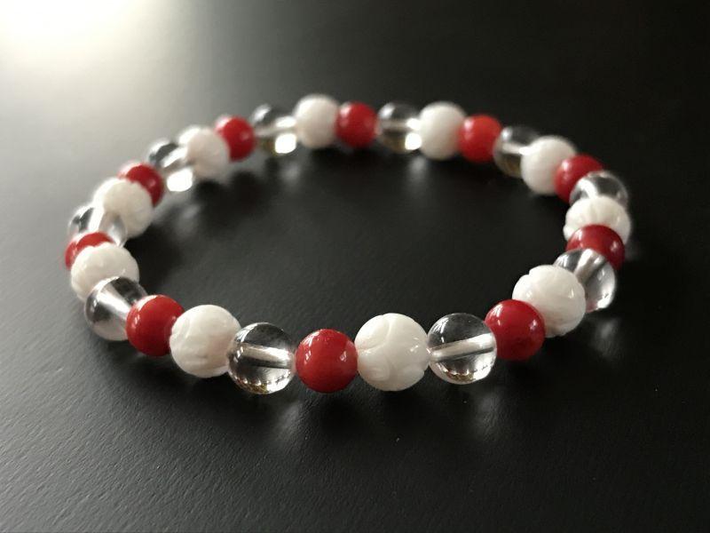 子供が欲しい!妊活・安産祈願 赤珊瑚&水晶&シャコ貝★トリプルブレスレット