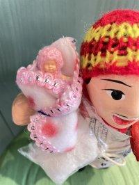 エケコ人形用小物 赤ちゃんが欲しい❤おくるみ フェルトR水玉【小物のみの価格】