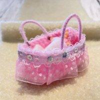 エケコ人形用小物 赤ちゃんが欲しい❤おくるみベッド 桃【小物のみの価格】