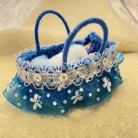 エケコ人形用小物 赤ちゃんが欲しい❤おくるみベッド 青【小物のみの価格】