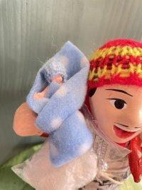 エケコ人形用小物 赤ちゃんが欲しい❤おくるみ フェルトW水玉【小物のみの価格】