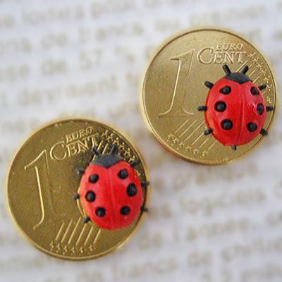 画像1: 幸せのラッキーコイン☆てんとう虫 2個セット