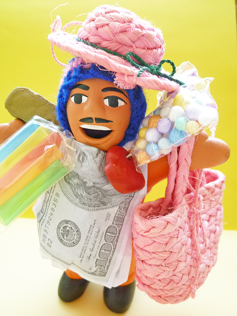 画像1: 【限定】エケコ人形用ミニチュア小物 麦わら帽子つきお買い物バッグ♪(小物のみの価格)