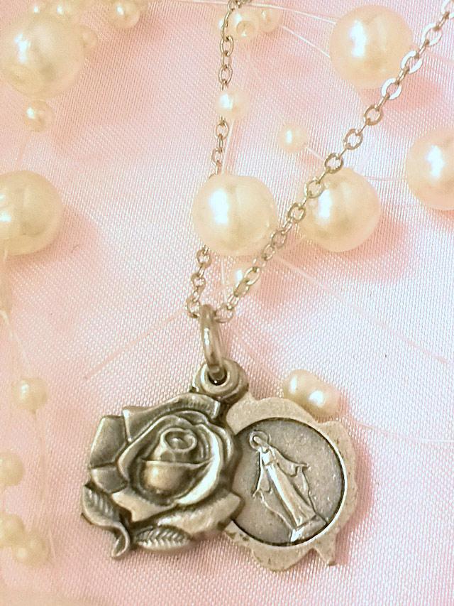 画像1: 秘密のマリア様★薔薇のスライド メダイネックレス