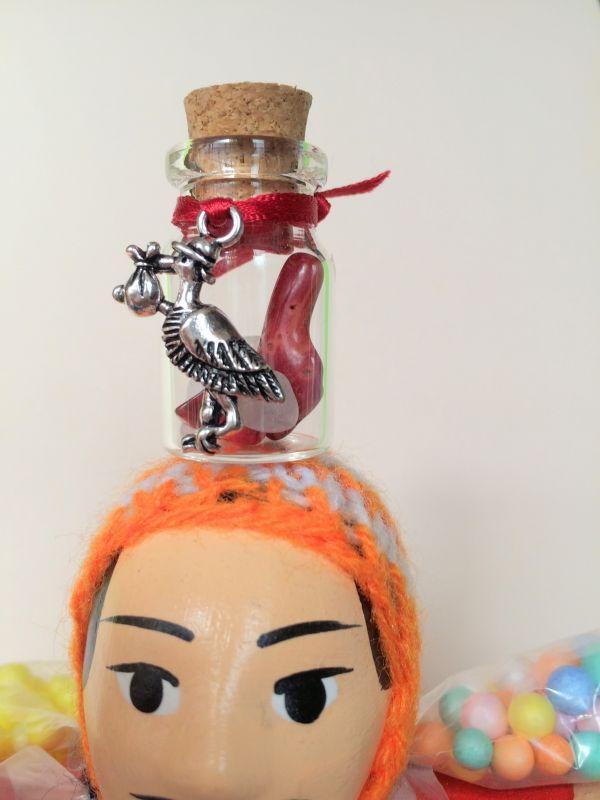 画像2: コウノトリ!赤ちゃんを運んできて★ママになるための赤珊瑚お守り【エケコ人形用小物。小物のみの価格】