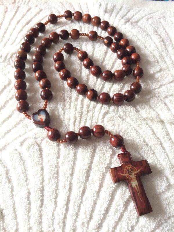 画像1: 【限定】聖なる十字架 祈りのロザリオ ウッド B