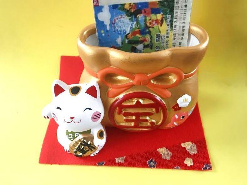 画像2: 【SALE】当選!宝くじ入れ:白猫