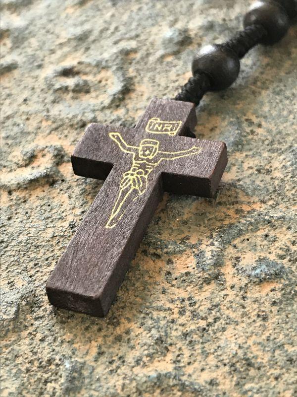 画像2: お祈り用・聖なる十字架 メキシコロザリオ ダークブラウン