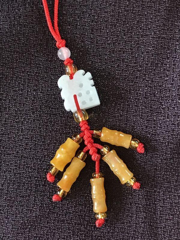 画像1: 福を招き邪気を祓う 爆竹(翡翠) 飾り