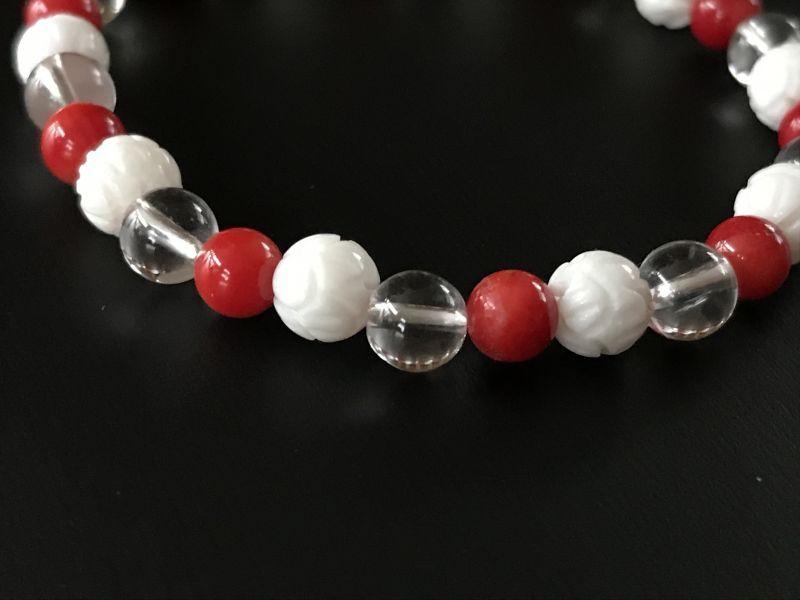 画像2: 子供が欲しい!妊活・安産祈願 赤珊瑚&水晶&シャコ貝★トリプルブレスレット