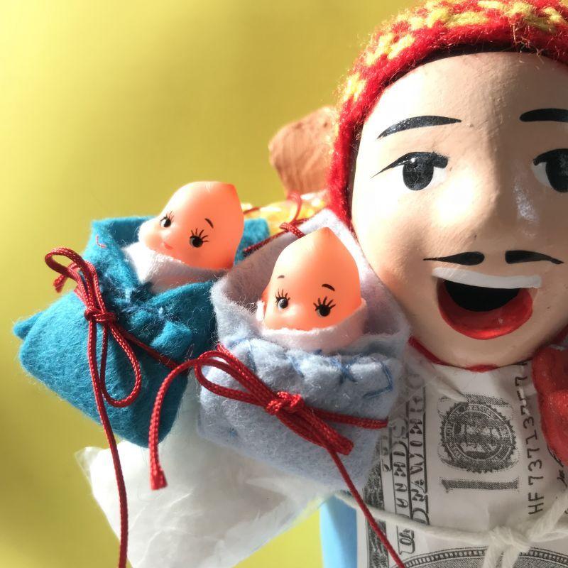画像2: エケコ人形用小物 お願い 赤ちゃんが欲しい❤おくるみ 青 【小物のみの価格】