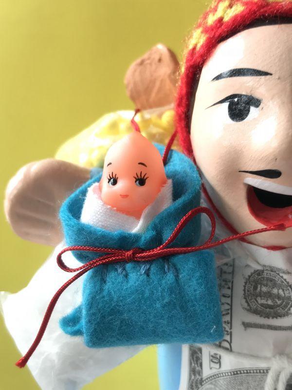 画像1: エケコ人形用小物 お願い 赤ちゃんが欲しい❤おくるみ 青 【小物のみの価格】