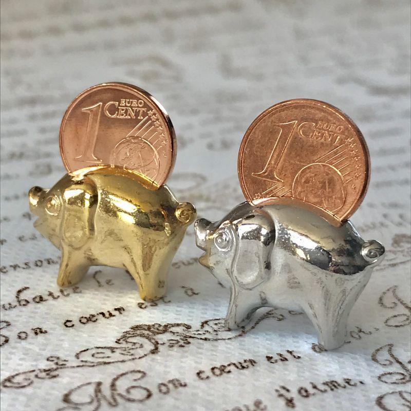 画像3: 【お得!】繁栄と幸運を!ラッキーユーロ☆ピッグ ゴールド&シルバーSET