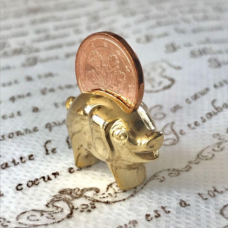 画像1: 繁栄と幸運を!ラッキーユーロ☆ピッグ ゴールド