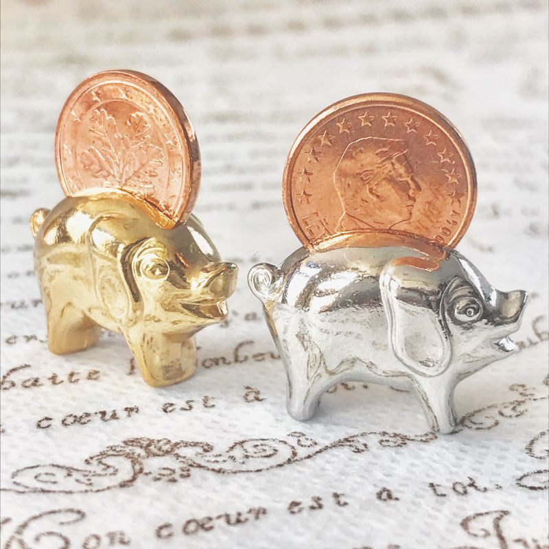 画像2: 【お得!】繁栄と幸運を!ラッキーユーロ☆ピッグ ゴールド&シルバーSET