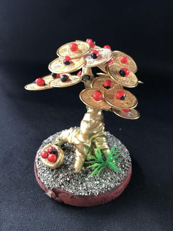 画像1: 絶え間なく金を呼ぶ!黄金マネーコインの樹G/幸運の実壺付き