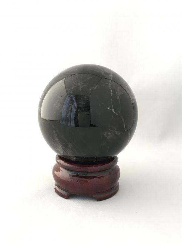 画像1: 最強の魔除け効果を持つ!陰気・邪気・殺気を鎮める!天然黒水晶  AAAモリオン 丸玉B