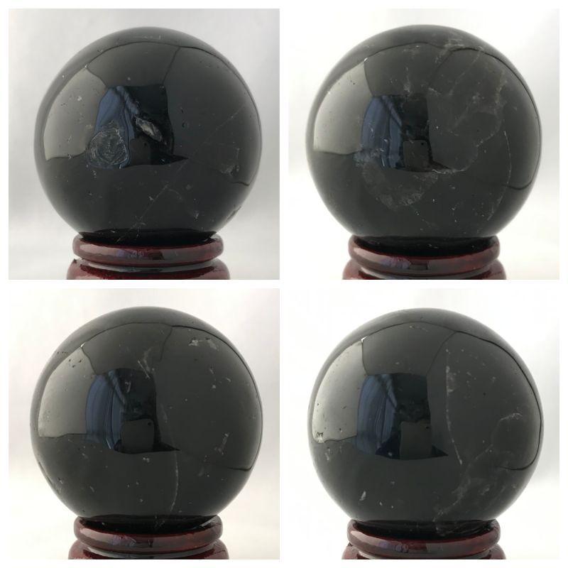 画像2: 最強の魔除け効果を持つ!陰気・邪気・殺気を鎮める!天然黒水晶  AAAモリオン 丸玉B