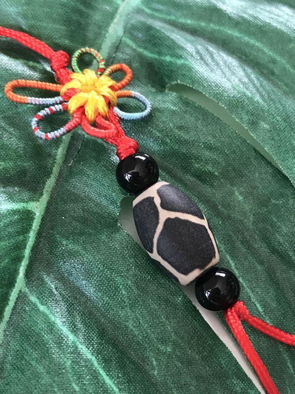 画像3: 健康運と病気防止 亀甲天珠 花結びストラップ