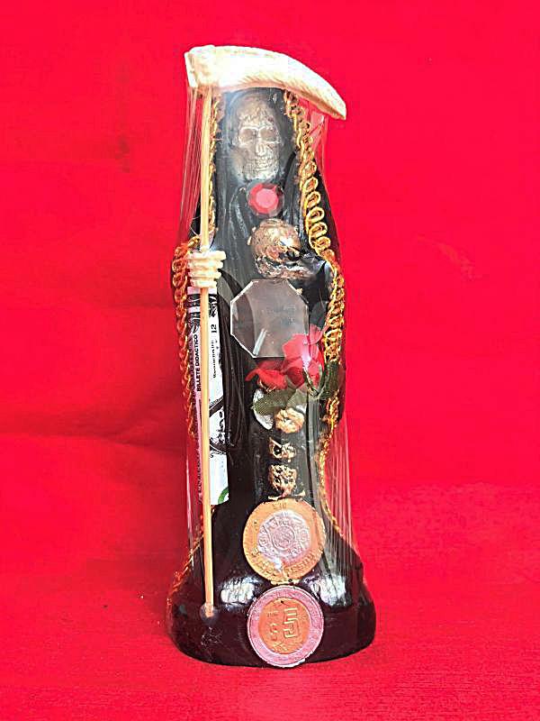 画像1: どんな願いも叶えるといわれる奇跡の聖人!サンタ・ムエルテ像 MサイズBK★R