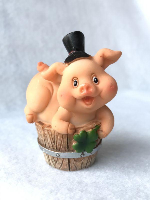 画像1: 富と繁栄! 幸せをもたらすブタの煙突掃除人 木樽