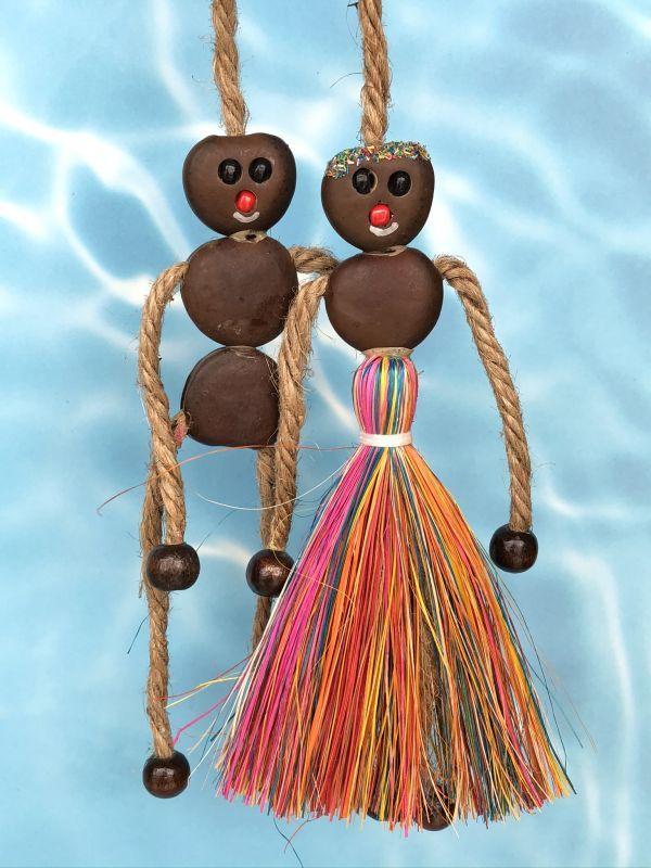 画像1: 愛・金・健康の 願いを叶えるといわれるボージョボー人形(結び方ガイド付)レインボー【ANIES.IMUZA】