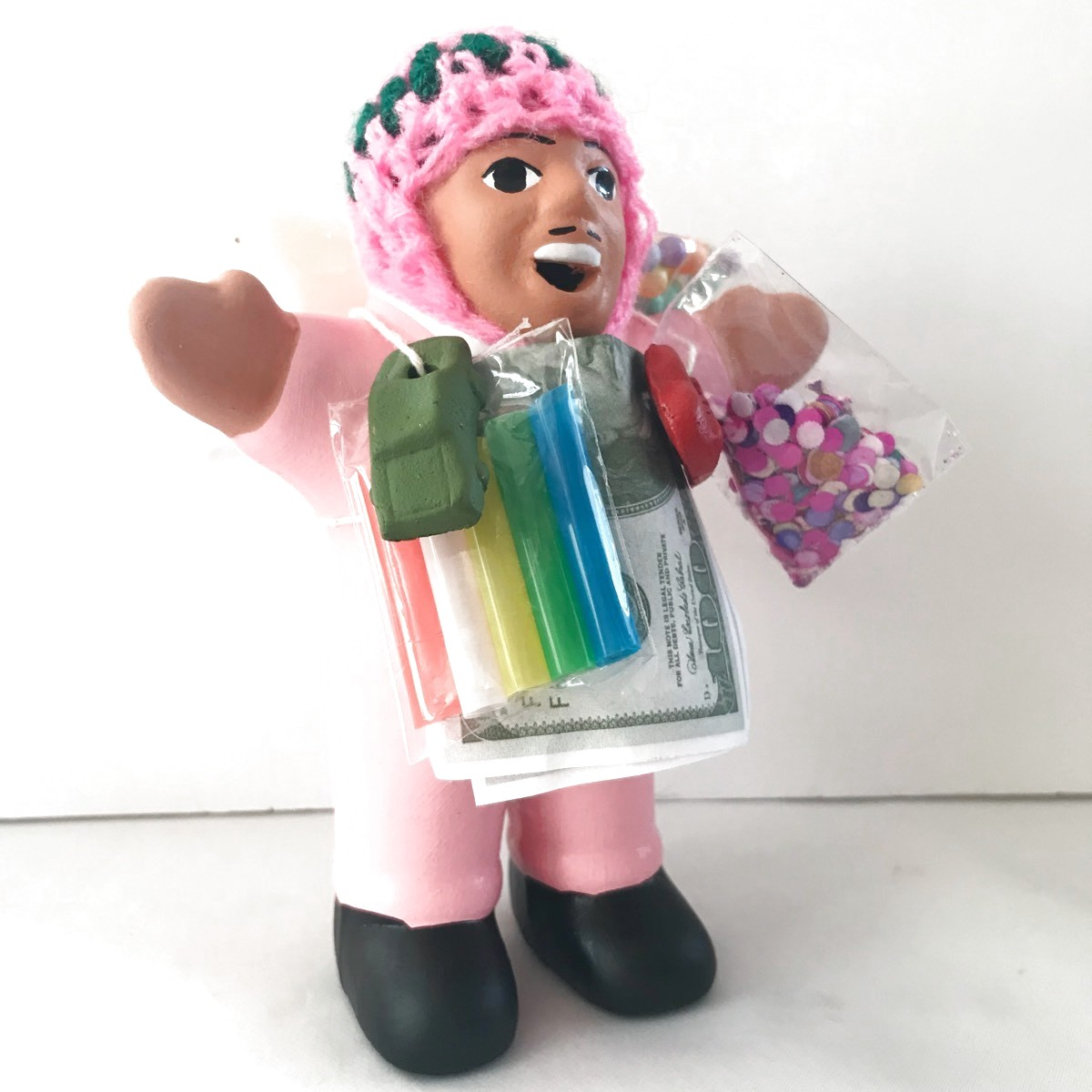 画像3: 【限定】ペルー産!エケコ(エケッコー)人形  中Mサイズ(約15センチ)ピンク