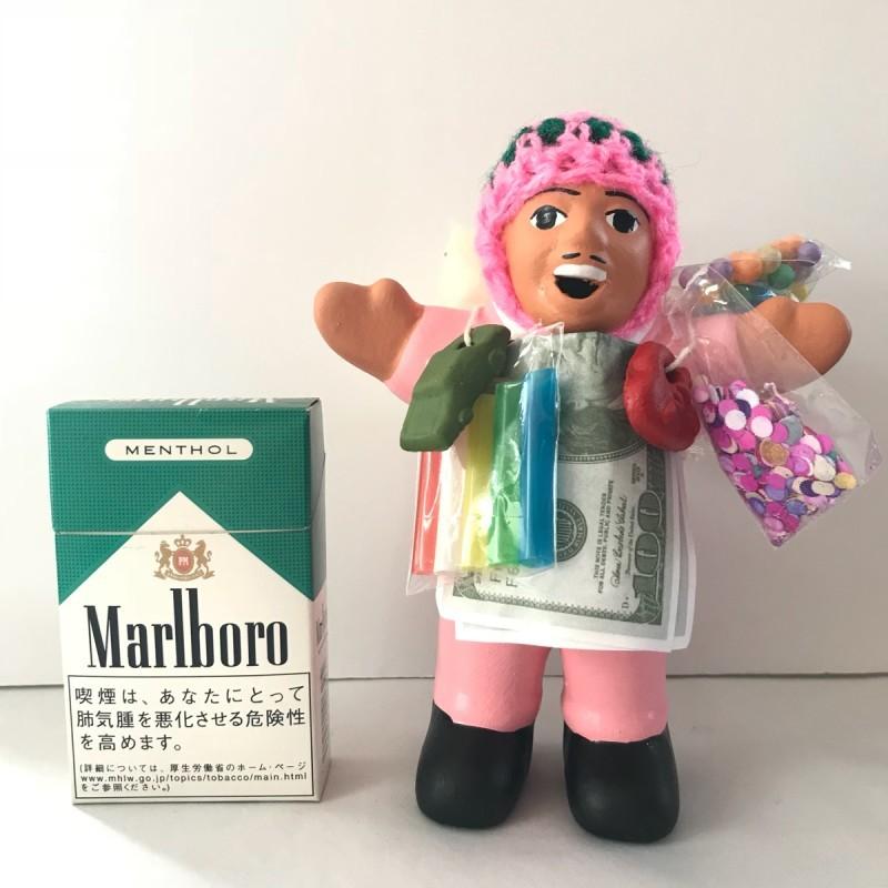 画像1: 【限定】ペルー産!エケコ(エケッコー)人形  中Mサイズ(約15センチ)ピンク
